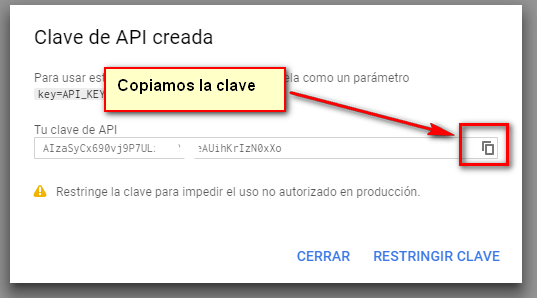 Copiar Api Key google maps