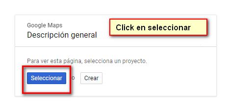 Seleccionar Proyecto google maps