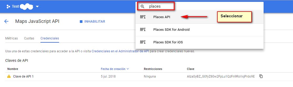 Activar maps places