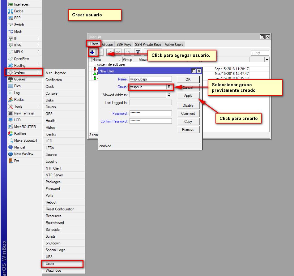 Crear usuario wisphub routeros