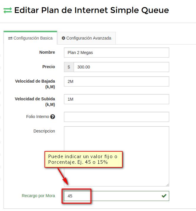 Plan de Internet recargo por mora