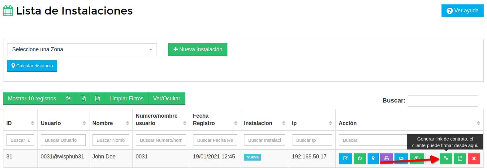 Boton para generar link de contrato del cliente