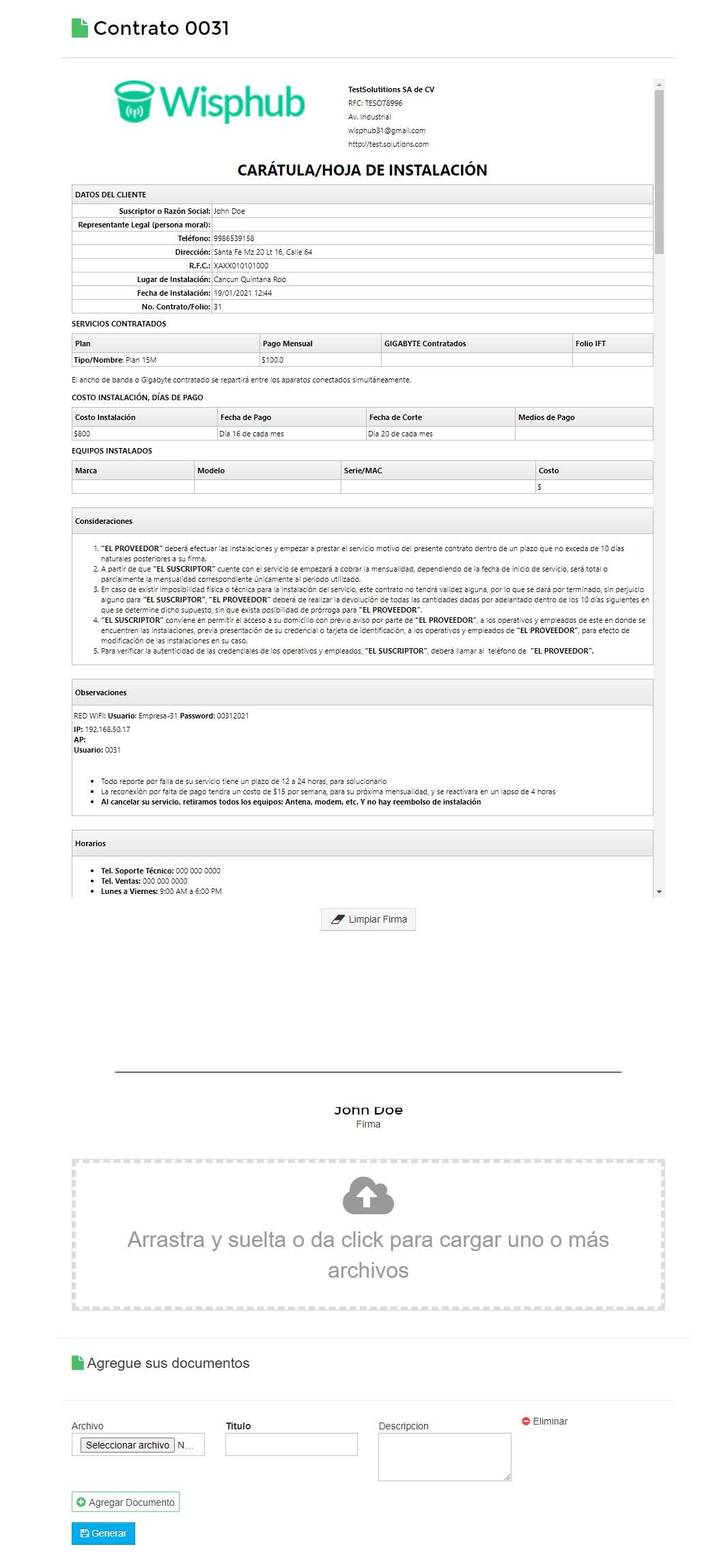 Contrato desde el portal del cliente