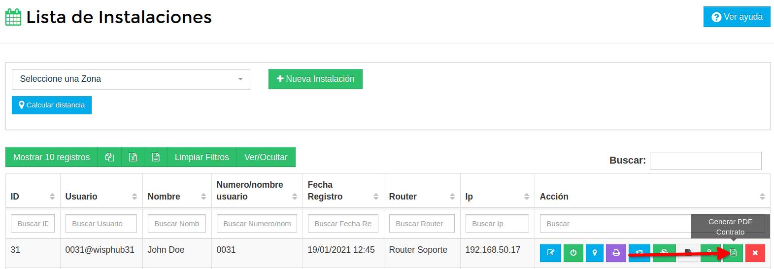 Botón para generar pdf del contrato en instalaciones