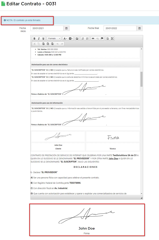 Editar contrato firmado